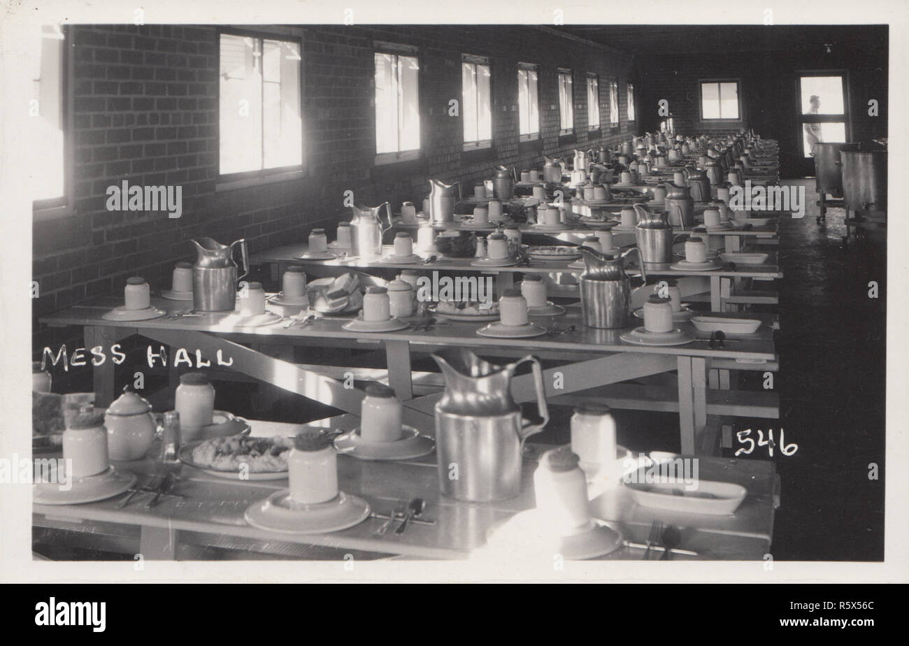 Vintage photographic postcard of a british military mess hall