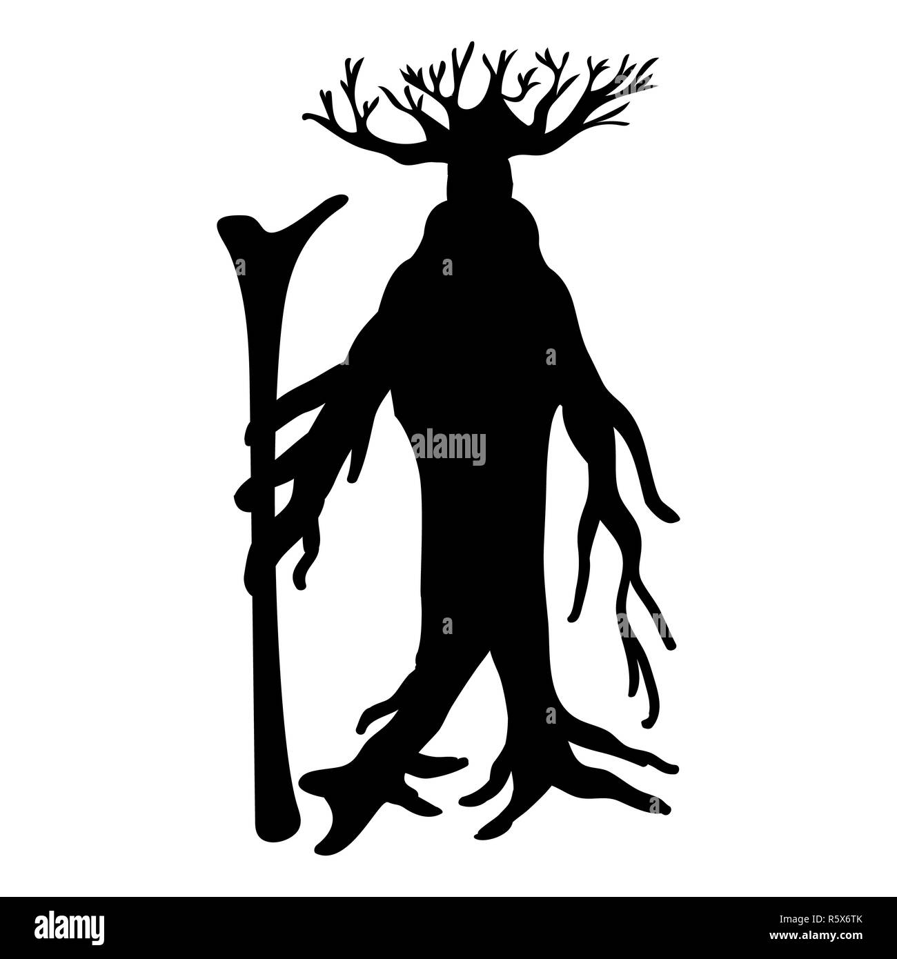Ent tree silhouette ancient legend fantasy - Stock Image