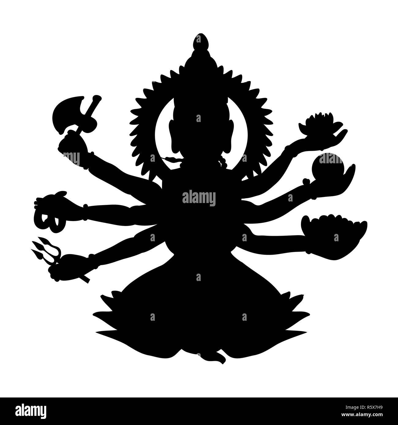 Shiva silhouette traditional religion spirituality - Stock Image