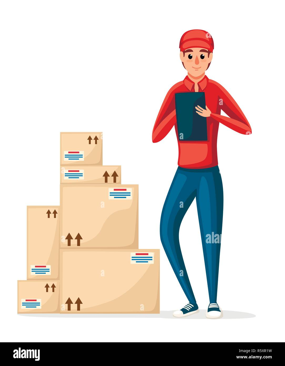 Postal courier with stack of cardboard boxes. Delivery worker holding note. Cartoon character design. Delivery of parcel and packages. Flat vector ill - Stock Image