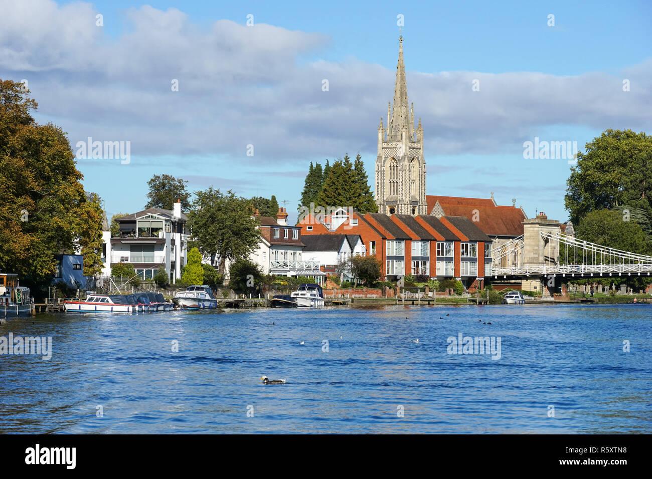 The River Thames in Marlow, Buckinghamshire, England United Kingdom UK - Stock Image