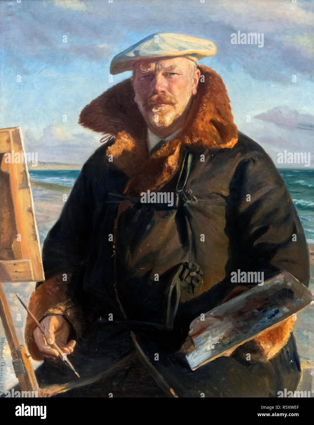 Self Portrait by Michael Ancher (1849 -1927), oil on canvas, 1902 - Stock Image