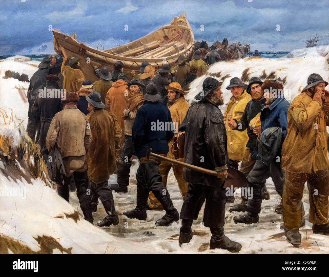 The Lifeboat is taken through the Dunes by Michael Ancher (1849 -1927), oil on canvas, 1883 - Stock Image