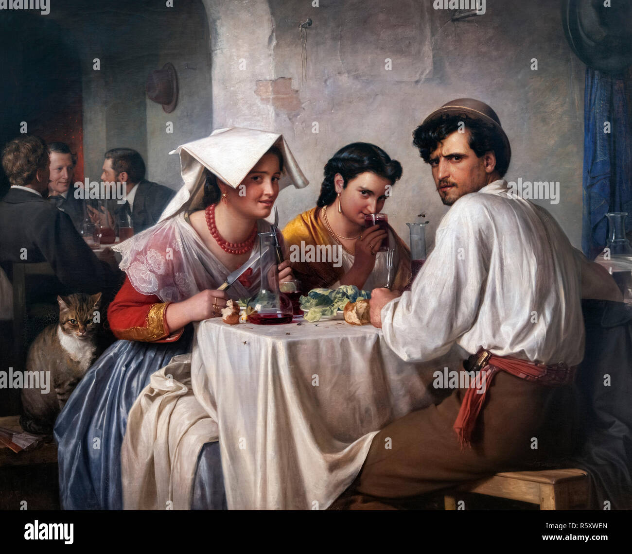 In a Roman Osteria by Carl Heinrich Bloch (1834-1890), oil on canvas, 1866 - Stock Image