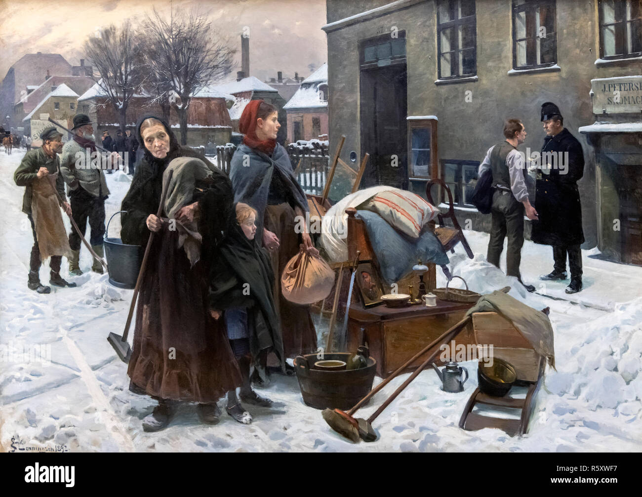 Evicted Tenants by Erik Ludvig Henningsen (1855-1930), oil on canvas, 1892 - Stock Image