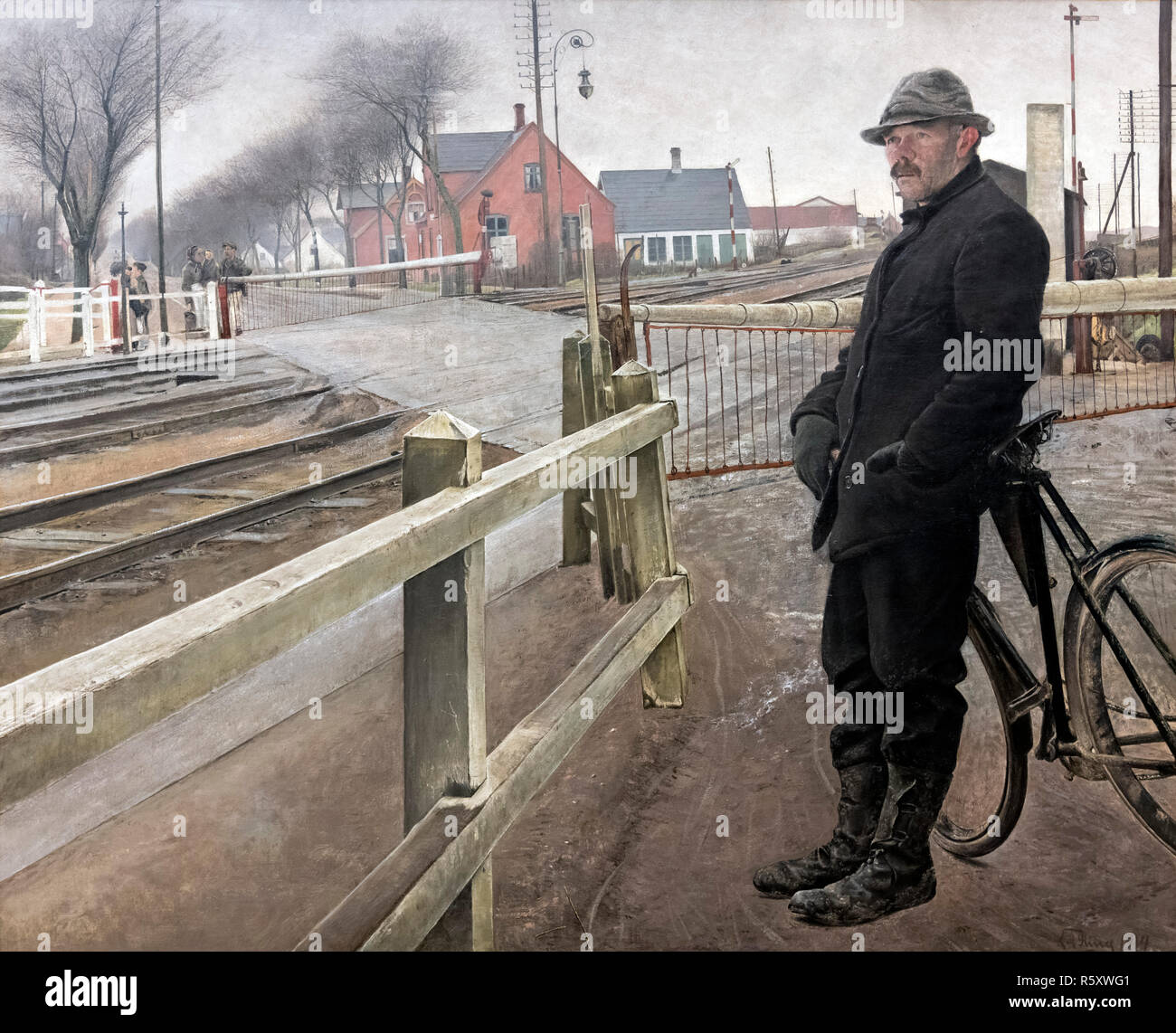 Waiting for the Train. Level Crossing by Roskilde Highway by Laurits Andersen Ring (1854-1933), oil on canvas, 1914 - Stock Image