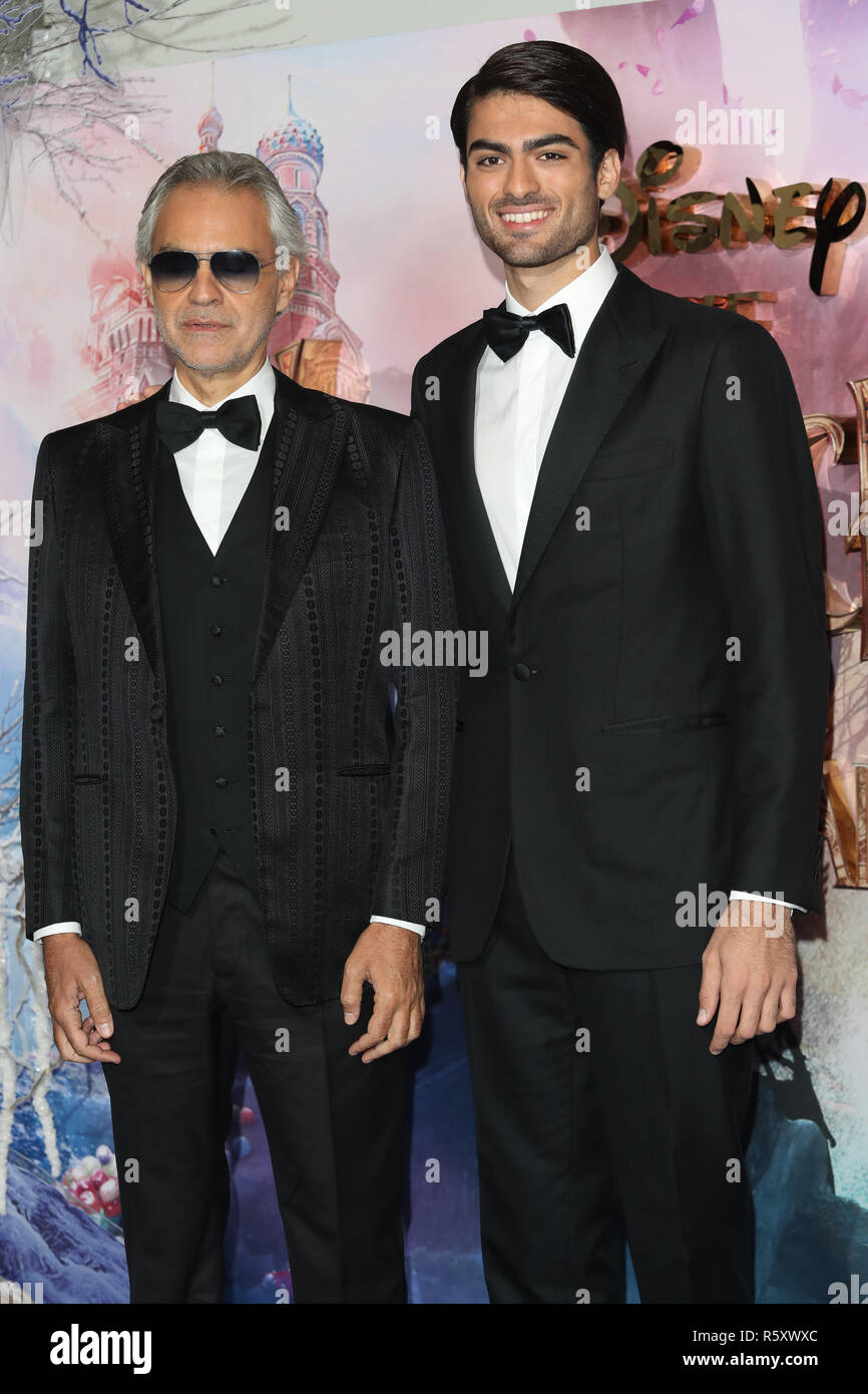 The Nutcracker and the Four Realms European Gala Screening held at Westfield - Arrivals  Featuring: Andrea Bocelli, Matteo Bocelli Where: London, United Kingdom When: 01 Nov 2018 Credit: Lia Toby/WENN.com - Stock Image