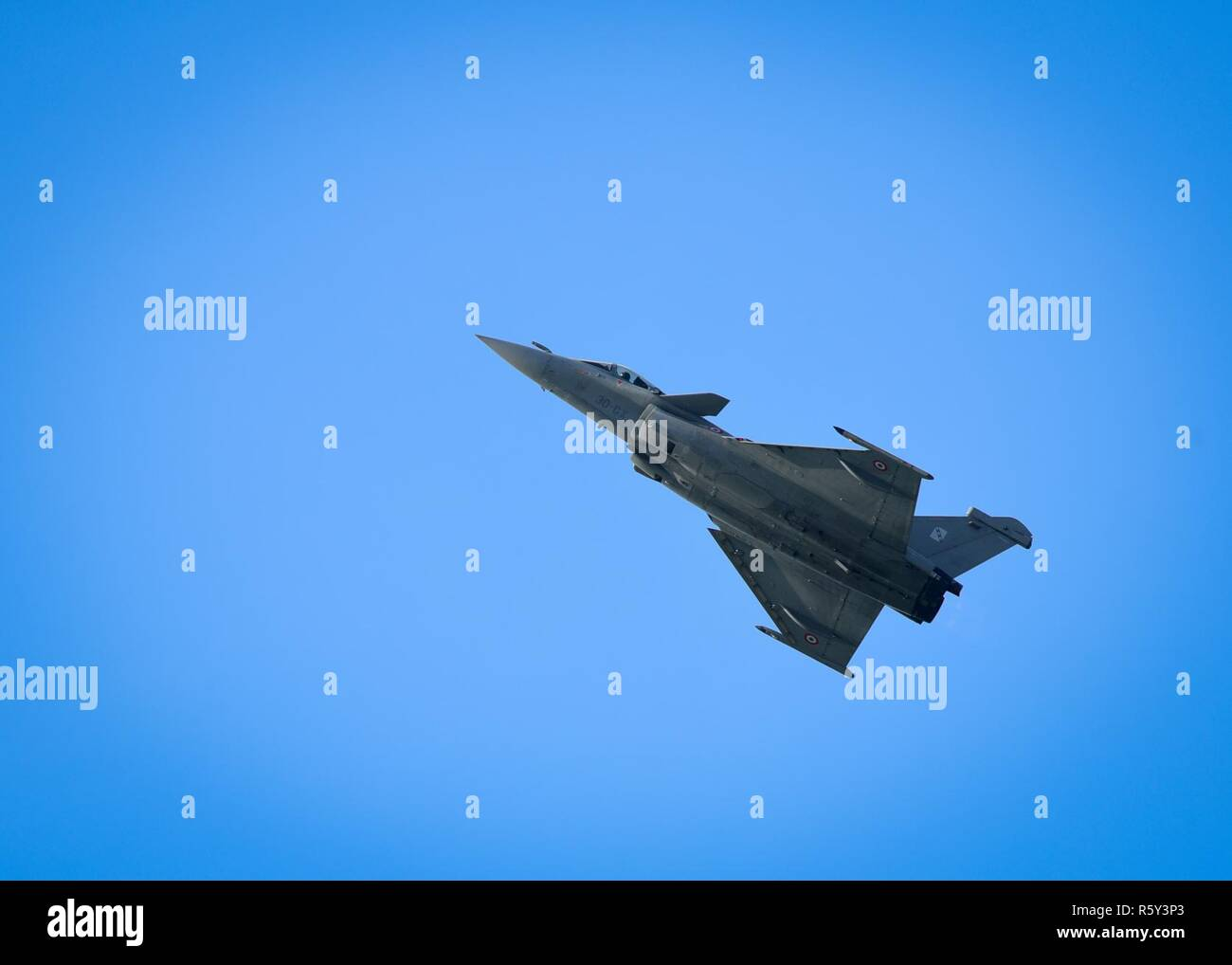 A French air force Dassault Rafale performs a practice demonstration