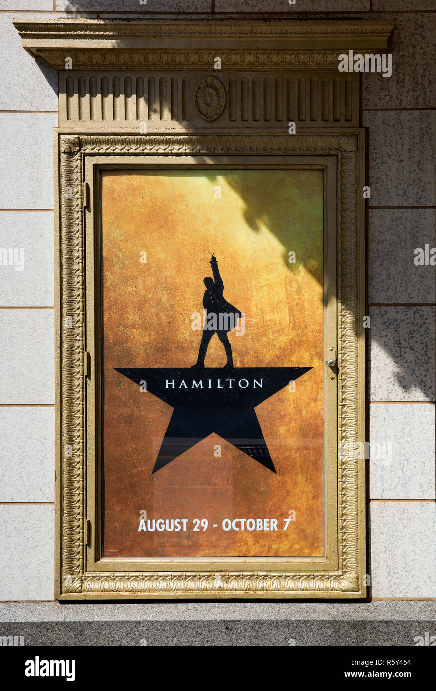 Poster for the musical Hamilton at Orpheum Theatre in Minneapolis, Minnesota - Stock Image