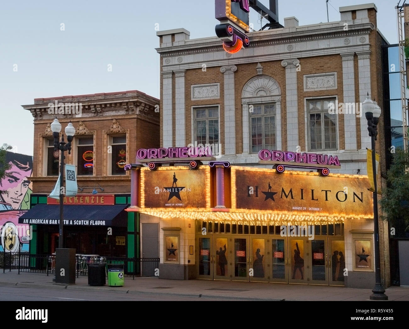 The Orpheum Theatre marquee advertising the broadway musical Hamilton in Minneapolis, Minnesota - Stock Image