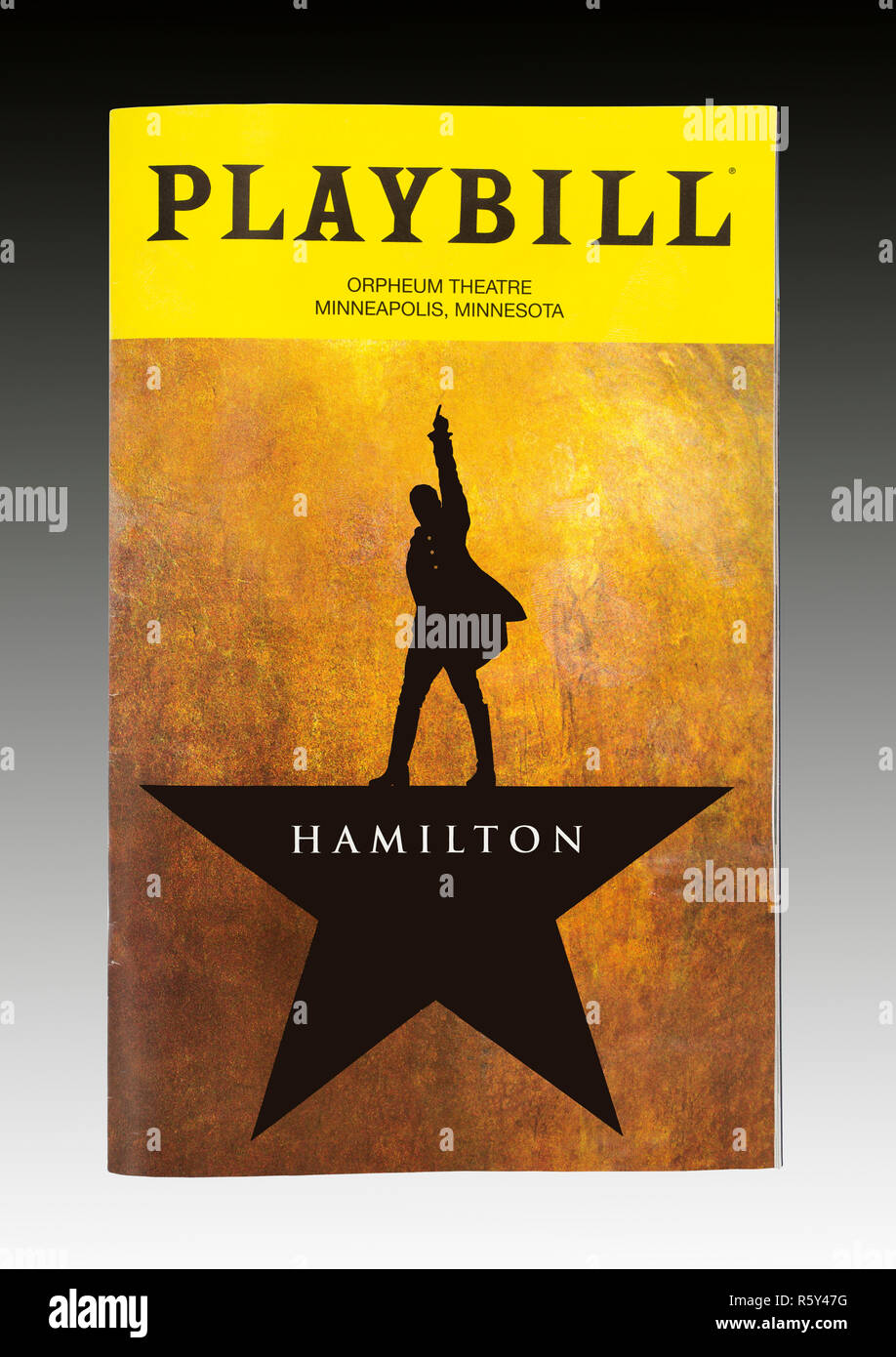 The playbill for the musical Hamilton at the Orpheum Theatre in Minneapolis, Minnesota - Stock Image