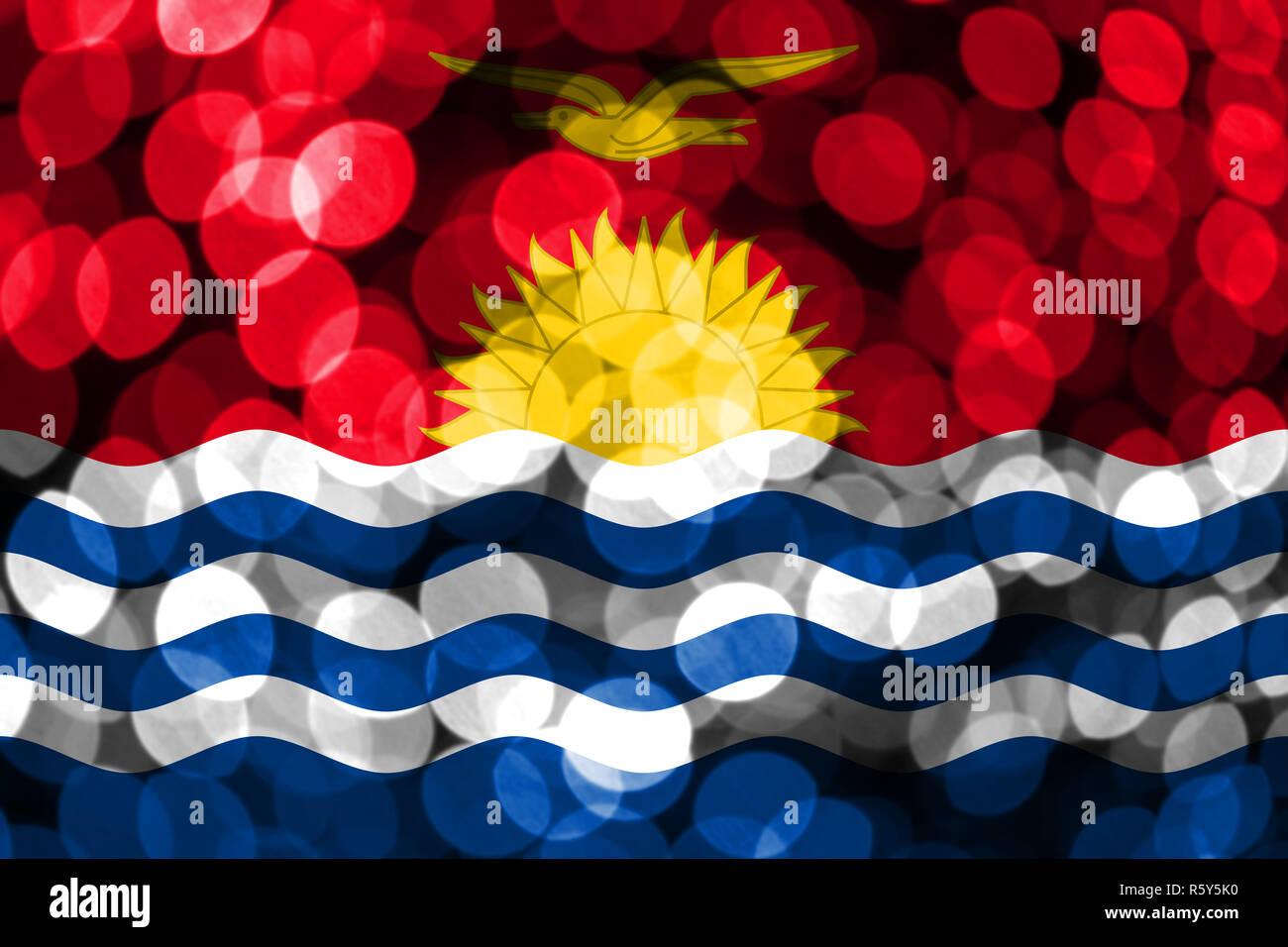 Kiribati abstract blurry bokeh flag. Christmas, New Year and National day concept flag. Stock Photo