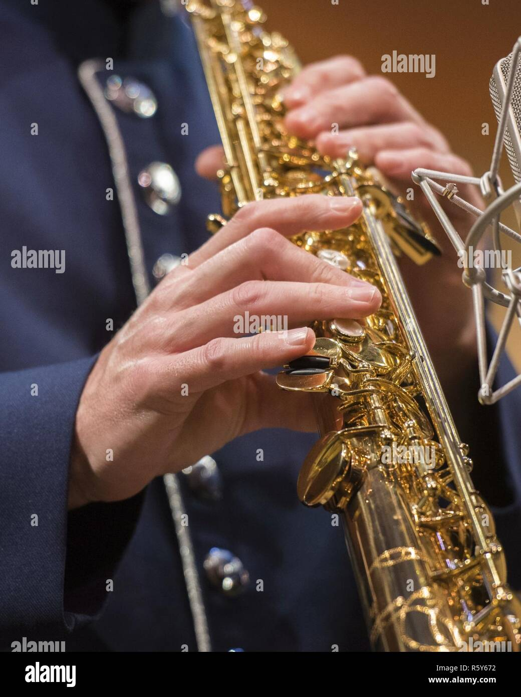 A U.S. Air Force Band member plays the soprano saxophone during a Jazz Heritage Series concert in Alexandria, Va., April 20, 2017. In 1990, the Air Force Band established the jazz heritage series, featuring the Airmen of Note in concert with well-known jazz icons. - Stock Image