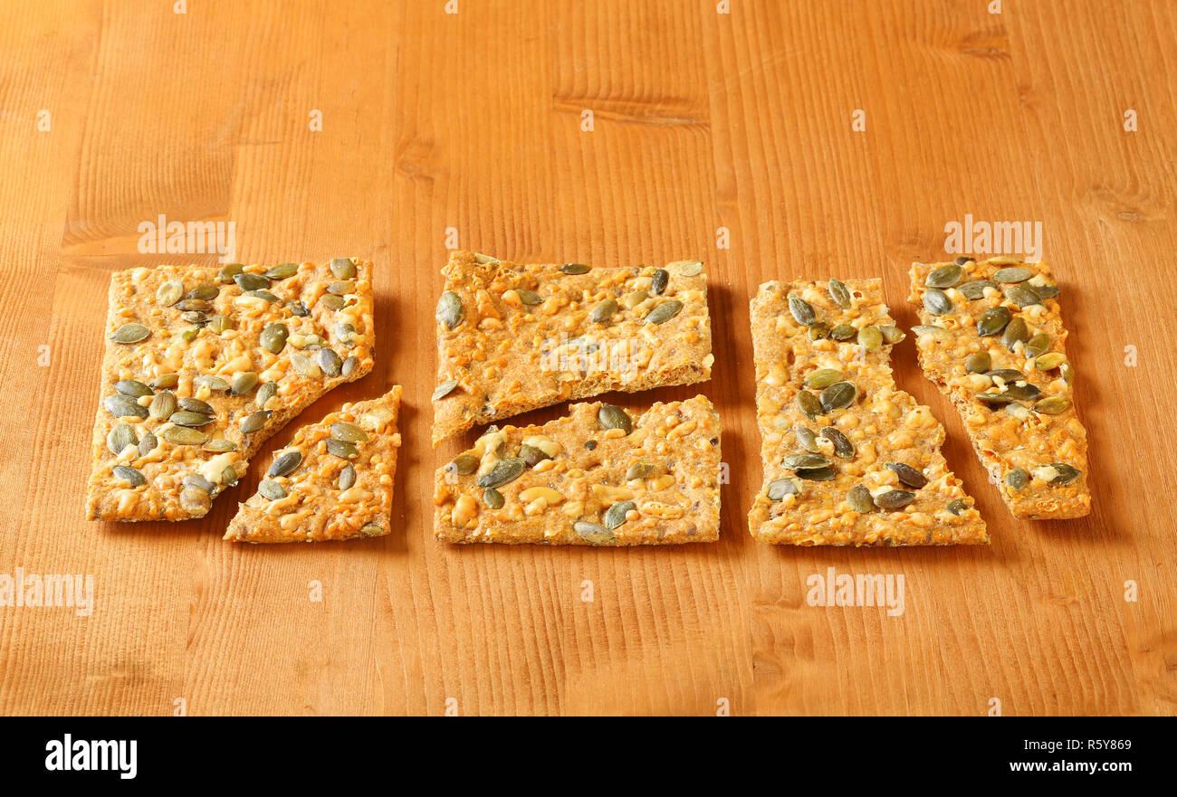 Pumpkin seed cheddar crackers Stock Photo