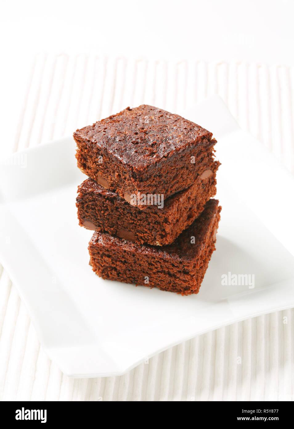 Chocolate Chip Brownies - Stock Image