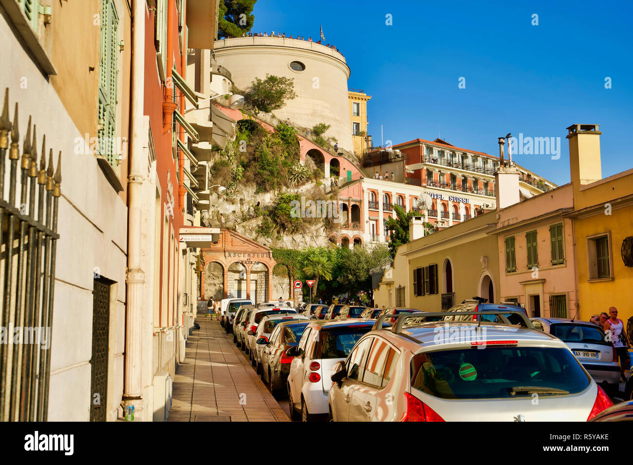9cfe45c2a6b NICE, FRANCE - AUGUST 10, 2018: The historic street of the city overlooking