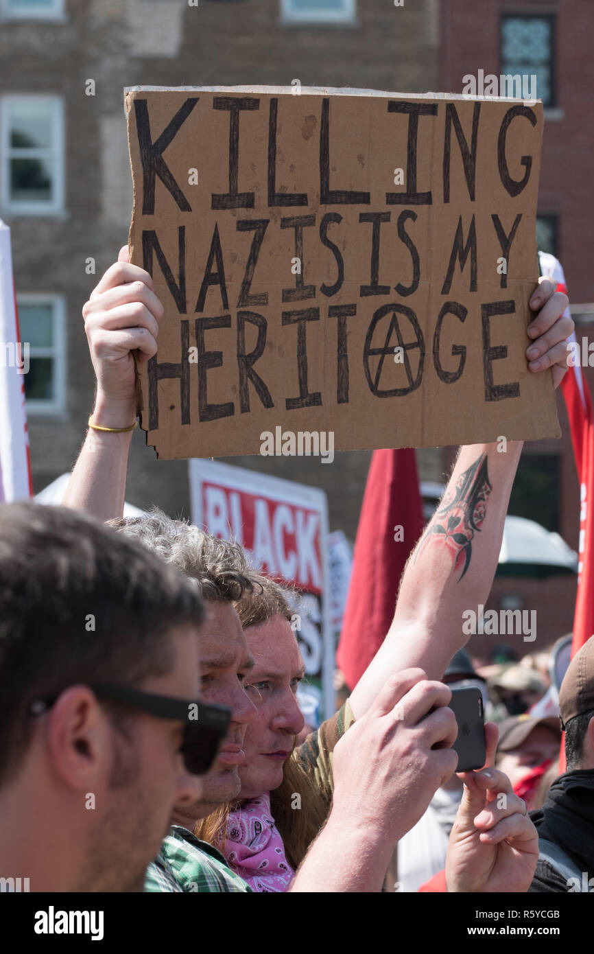 Charlottesville , Virginia , United States - August 12 , 2017 Unite the Right attracts neo-nazi groups and violent protesters Stock Photo