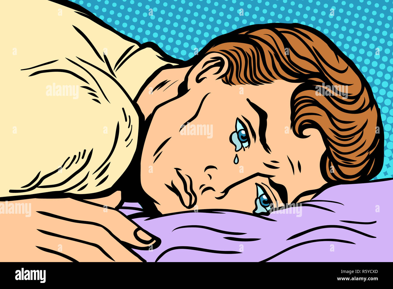 man lying on bed, depression grief and sadness - Stock Image