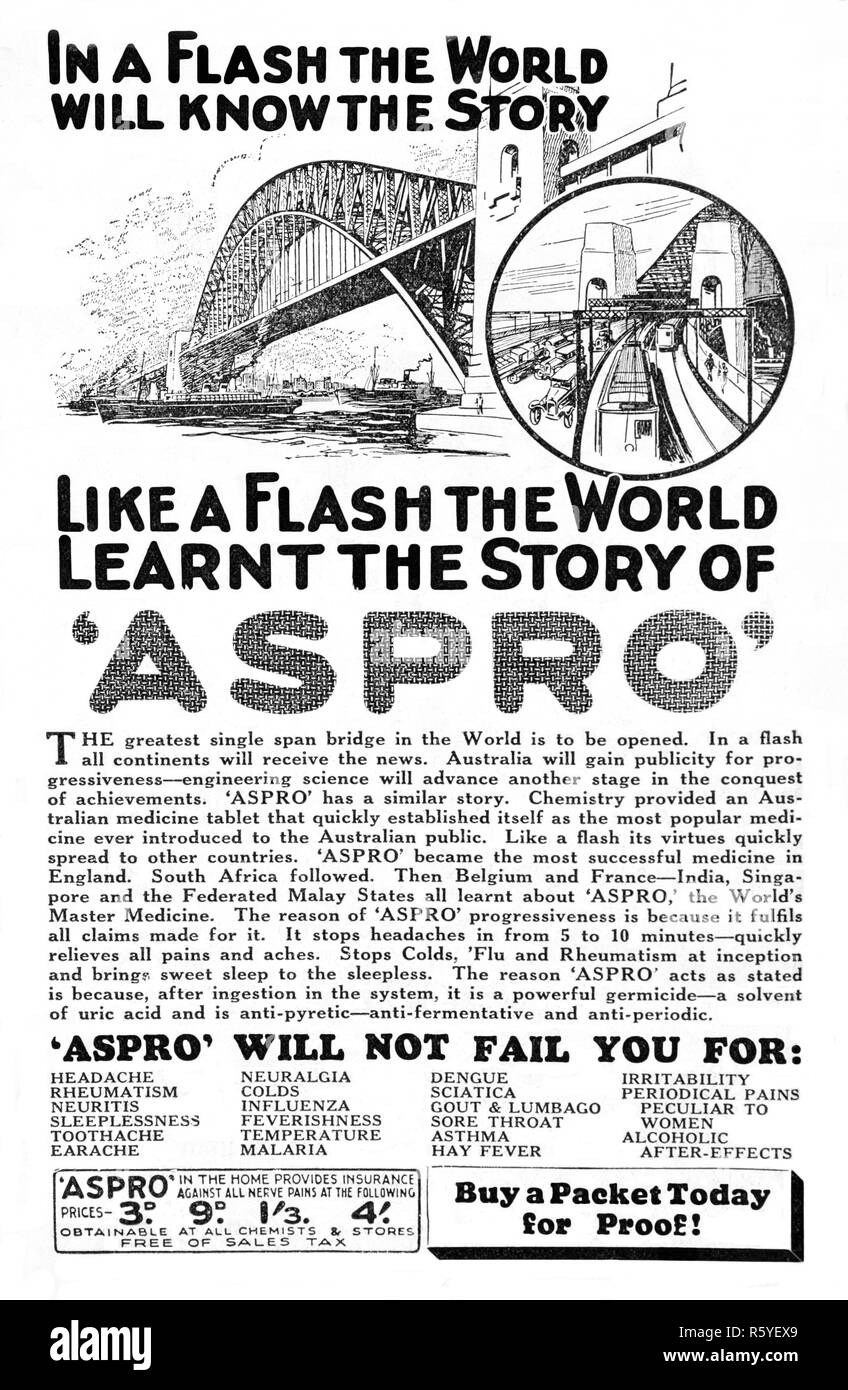 Vintage 1932 Australian Newspaper advertisement for Aspro at the time the Sydney Harbour Bridge was opened. Stock Photo
