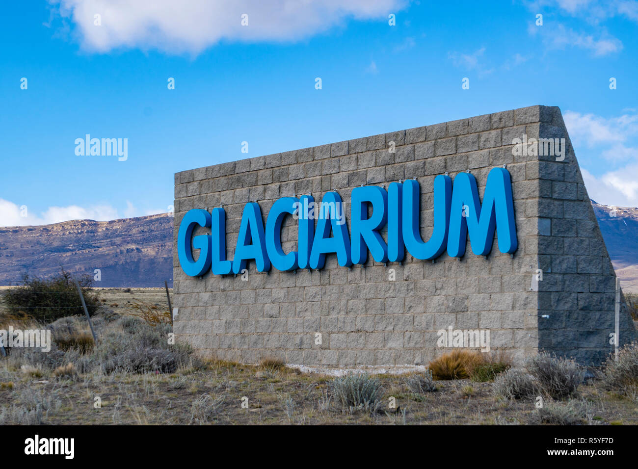 Sign at the entrance of Glaciarium museum in El Calafate - Stock Image