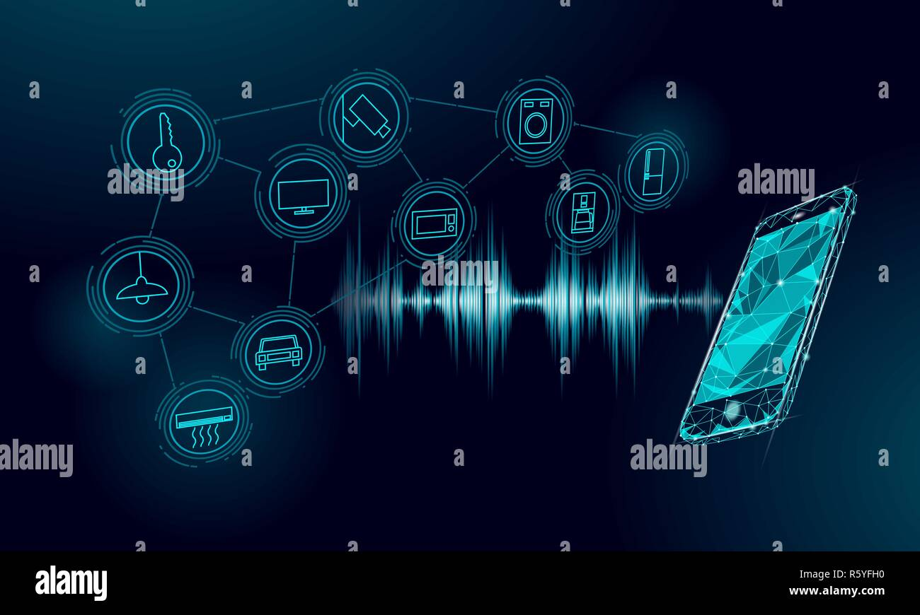 Voice assistant smart home control. Internet of things icon innovation technology concept. Wireless network soundwave smartphone IOT ICT. Artificial intelligence automation AI vector illustration - Stock Image