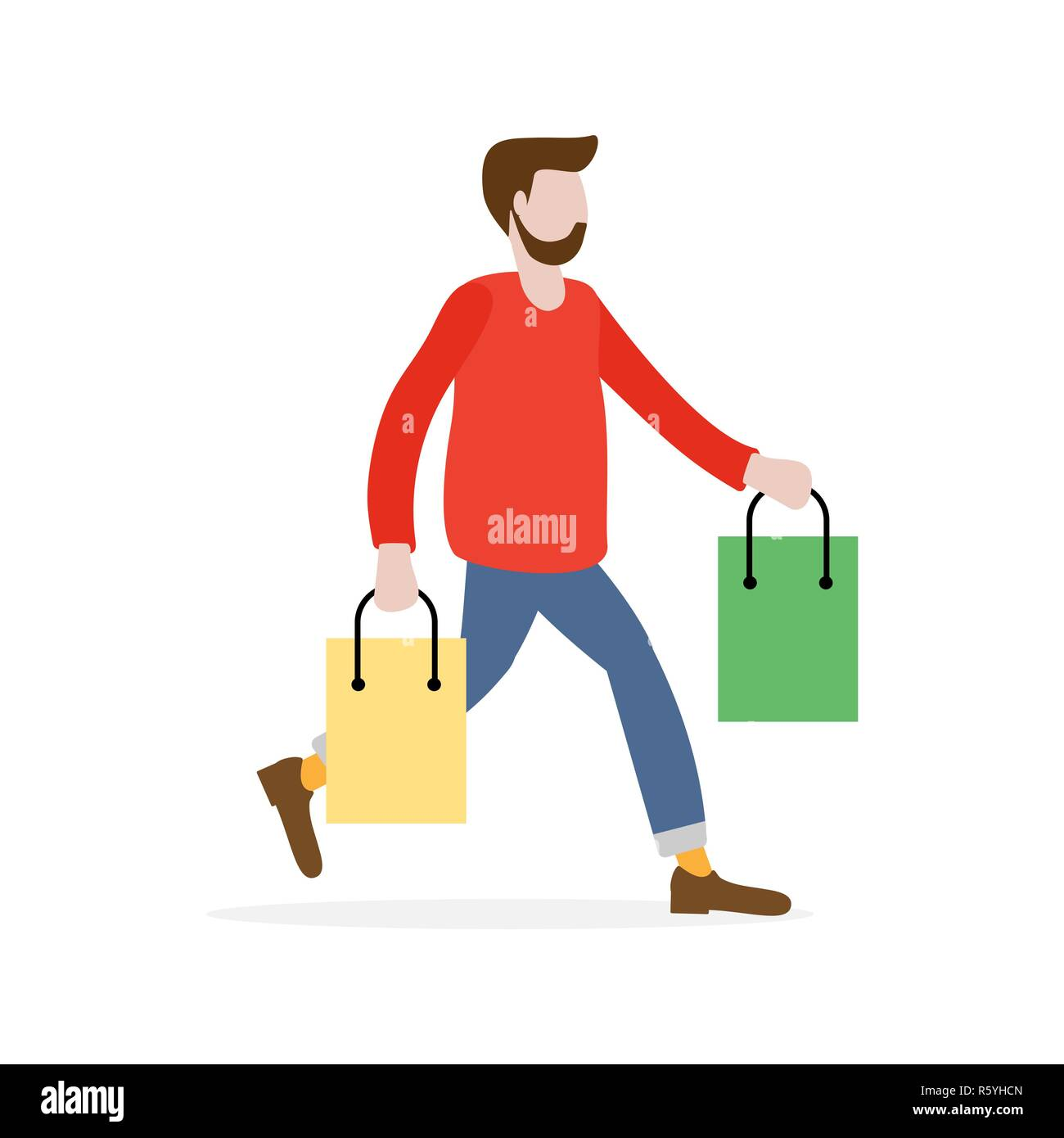 Man carry shopping bags on sale. Shopping man. Big sale. Black Friday. Man bought gift bags. Special Offer. Design concept for banner, promotional mat - Stock Vector