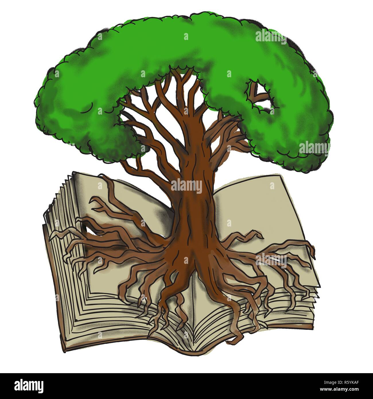 Tree Drawing With Roots High Resolution Stock Photography And Images Alamy Wild plants with roots isolated on white. https www alamy com oak tree roots on book tattoo image227415959 html