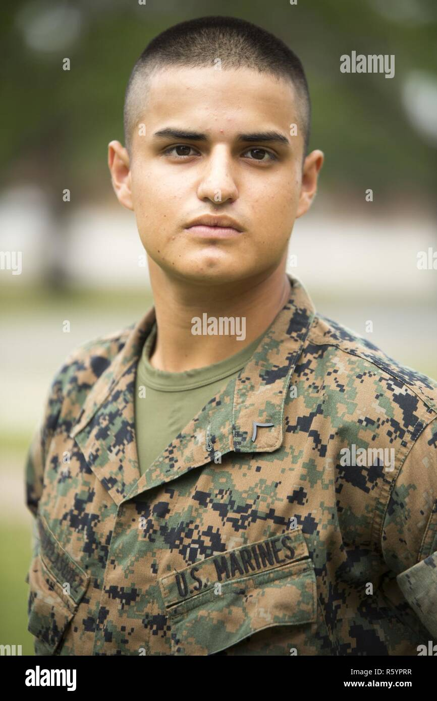 Pfc. Bryan Zurita Velasquez, Platoon 3029, India Company, 3rd Recruit Training Battalion, earned U.S. citizenship April 20, 2017 , on Parris Island, S.C. Before earning citizenship, applicants must demonstrate knowledge of the English language and American government, show good moral character and take the Oath of Allegiance to the U.S. Constitution. Zurita Velasquez, from , originally from Ecuador, is scheduled to graduate April 21, 2017 . - Stock Image