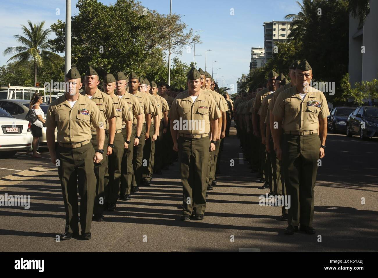 DARWIN, Australia – U.S. Marines with 3rd Battalion, 4th Marine Regiment, 1st Marine Division, Marine Rotational Darwin 17.2, stand ready to march during Australian and New Zealand Army Corps (ANZAC) Day, April 25, 2017. ANZAC Day is observed on April 25th and is a national day of remembrance in Australia and New Zealand that commemorates their countrymen who served and gave all at Gallipoli against the Ottoman Empire in World War I. Stock Photo