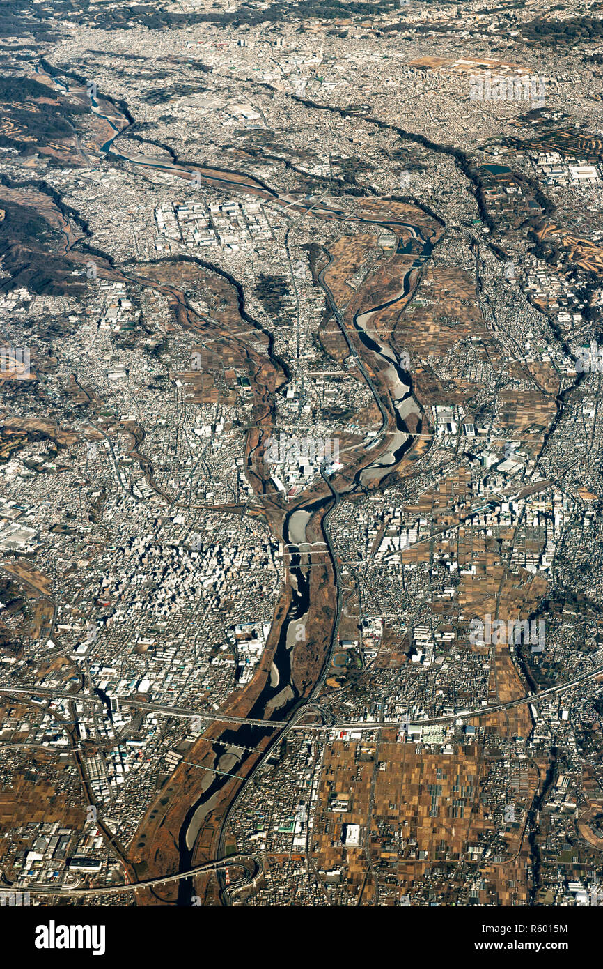 Aerial view over Odawara town in the Kanagawa Prefecture, Japan. - Stock Image