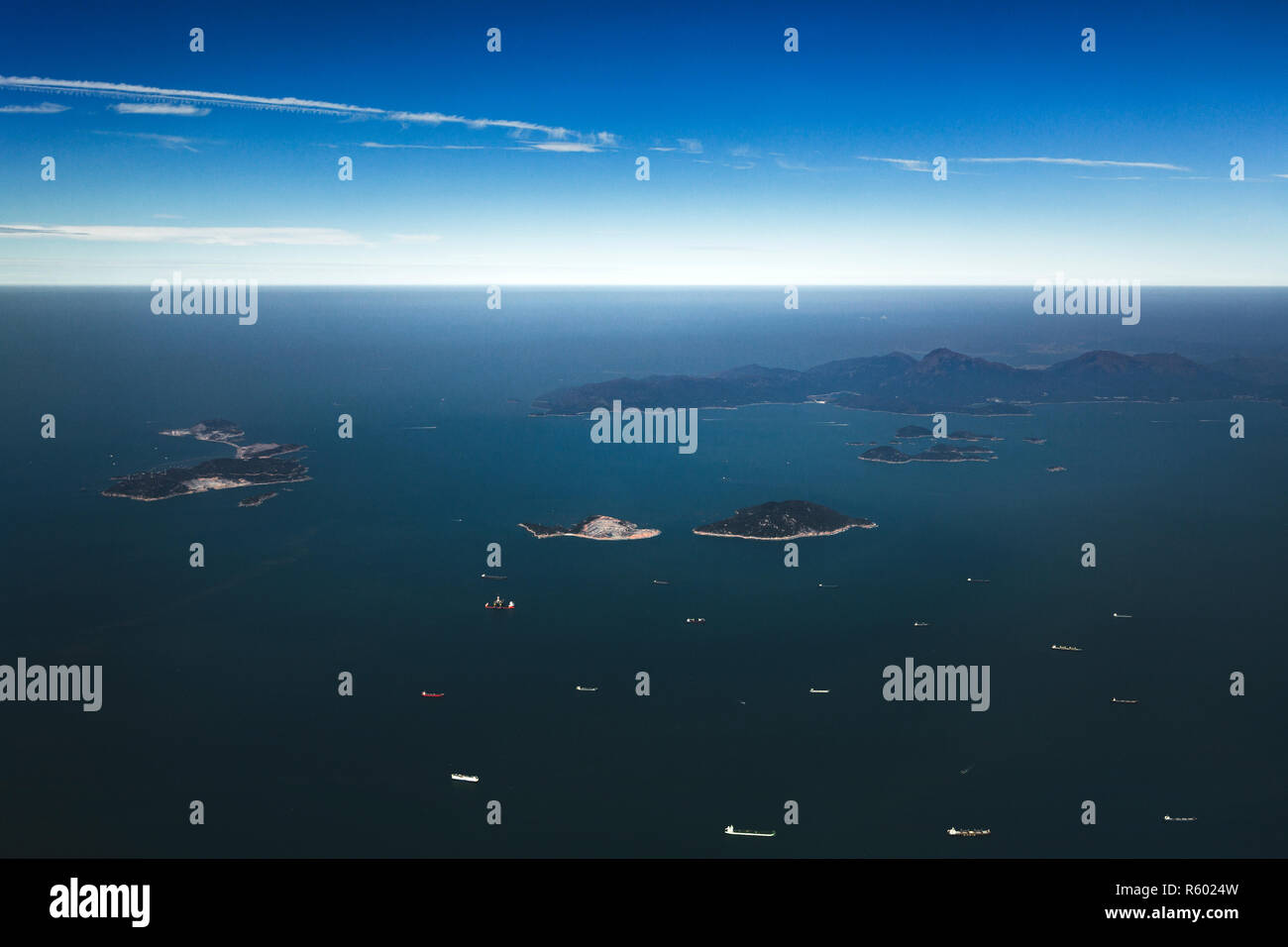 Aerial shot of the Soko Islands. A group of islands in Hong Kong to the southwest of Lantau Island in the South China Sea. - Stock Image