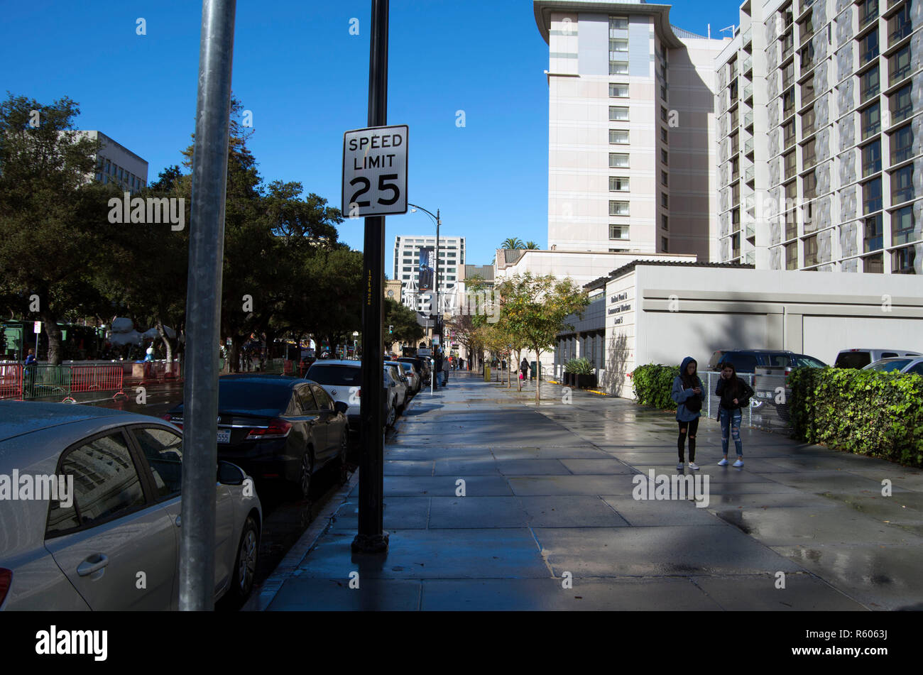 Speed limit signs are found everywhere in San Jose, CA. - Stock Image