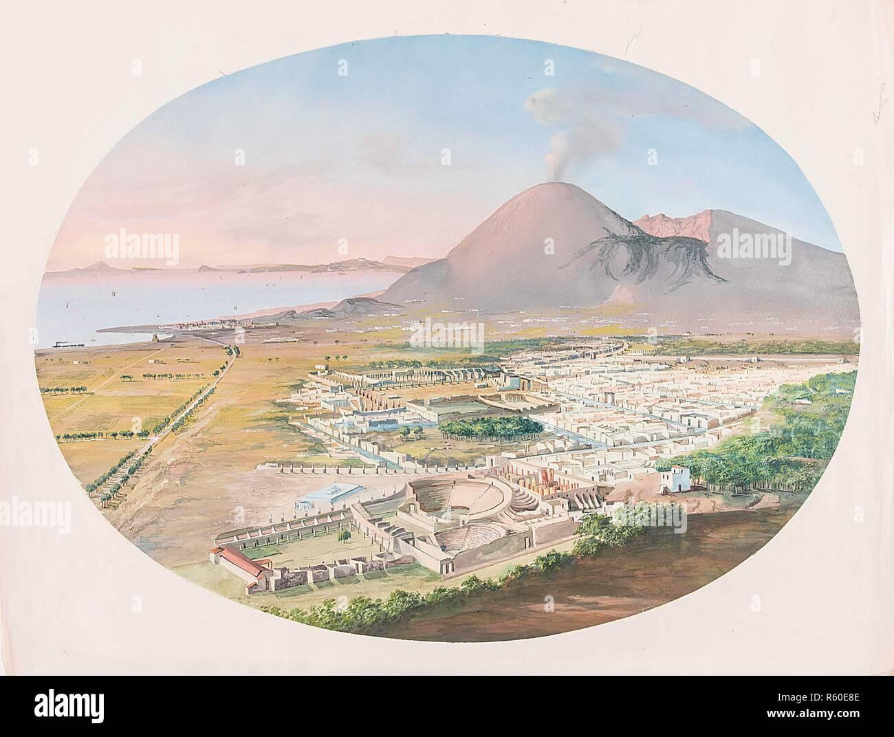 The excavations of Pompeii Vesuvius with reconstructions.jpg - R60E8E - Stock Image