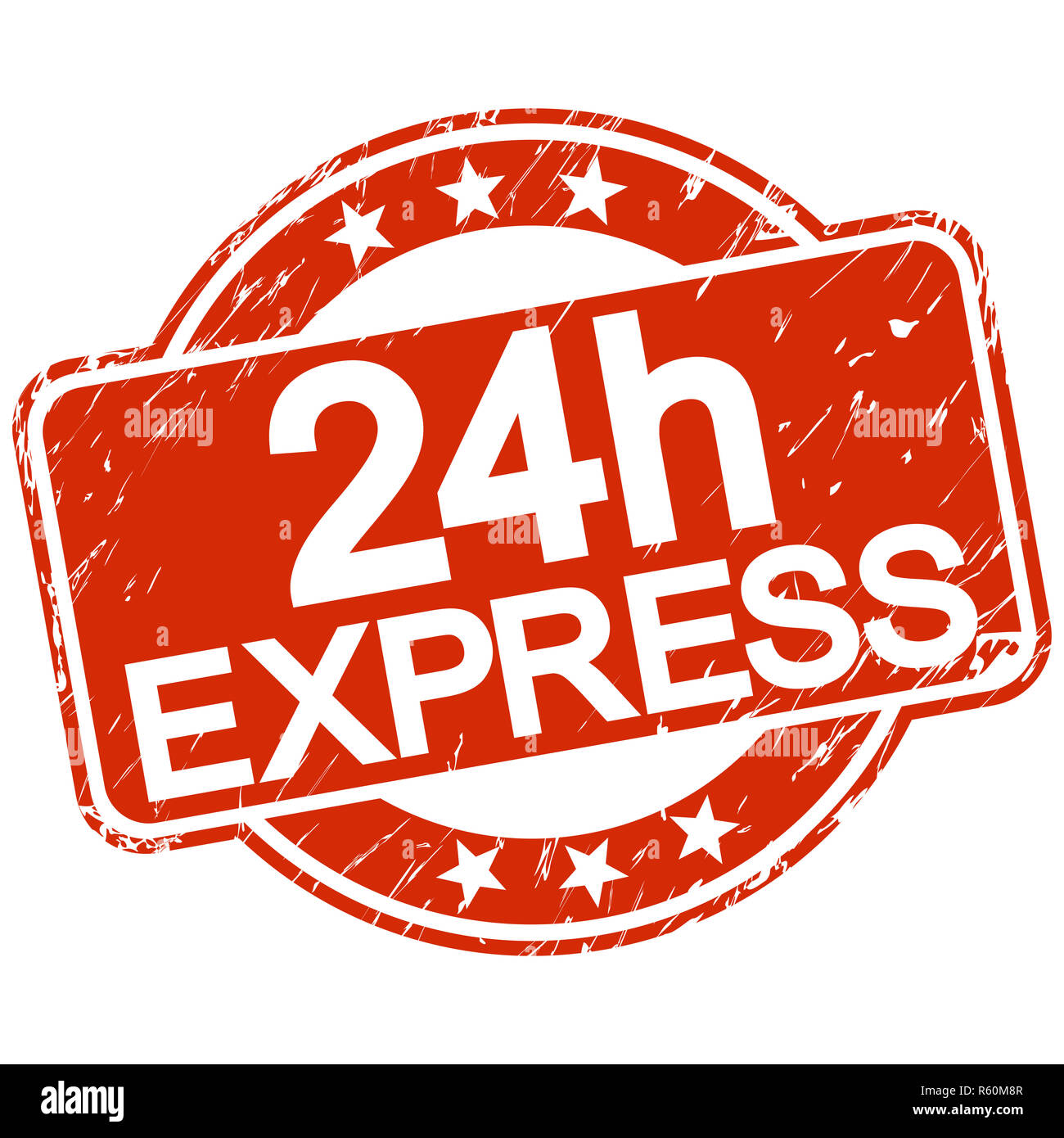 red scratched stamp 24h express Stock Photo