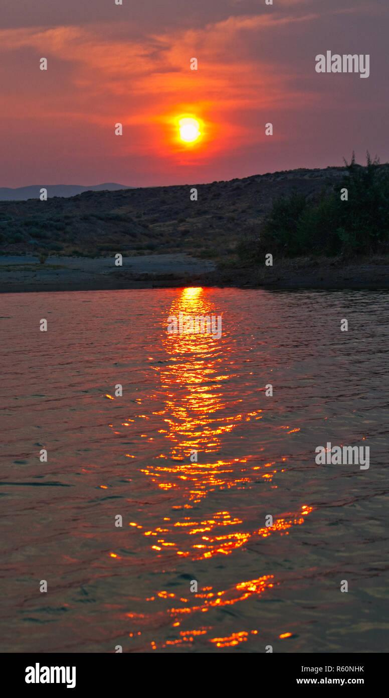 Smokey Sunset - Stock Image