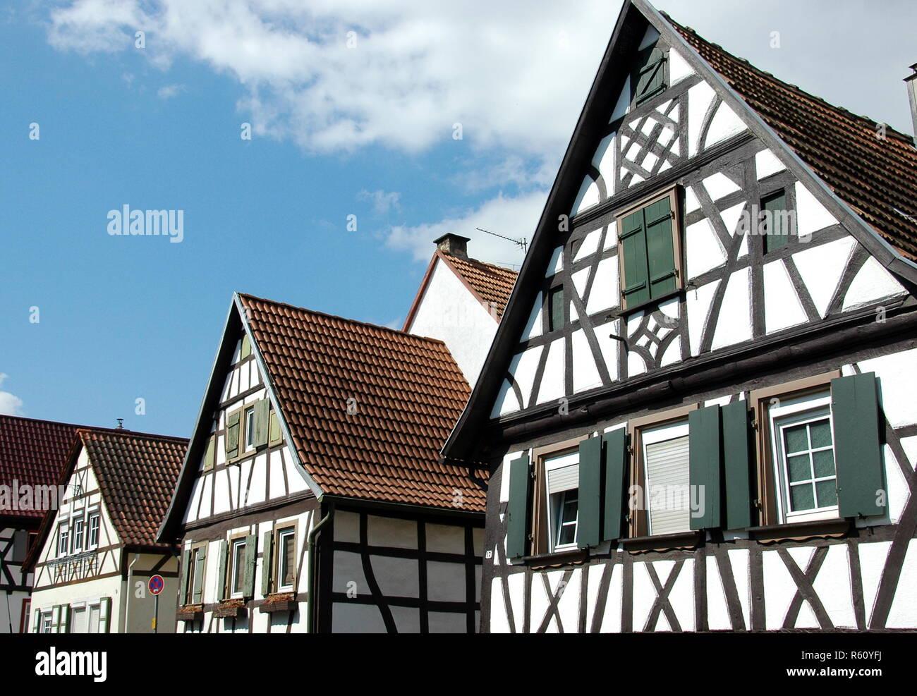 half-timbered houses badgasse rheinzabern Stock Photo