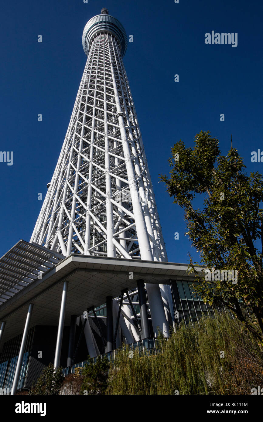 Tokyo Skytree is a broadcasting and observation tower.  It became the  tallest tower in the world.  Tobu Railway and TV and radio broadcasters includi Stock Photo