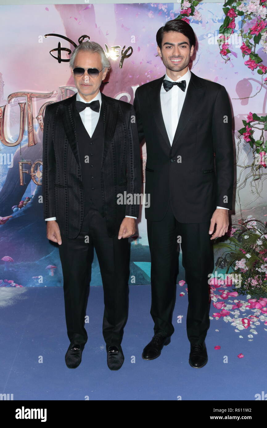 The Nutcracker and the Four Realms European Gala, VIP arrivals Vue cinema Westfield White City London UK  Featuring: Andrea Bocelli and Matteo Bocelli Where: London, United Kingdom When: 01 Nov 2018 Credit: WENN.com - Stock Image