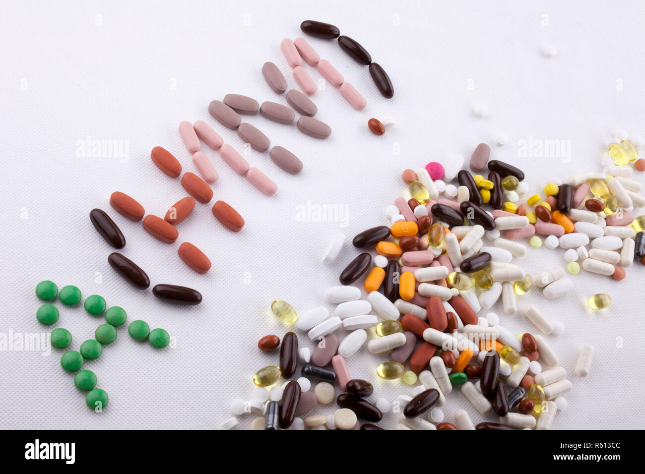 Hand writing text caption inspiration Medical care Health concept written with pills drugs capsule word ah1n1 On white isolated background with copy space - Stock Image