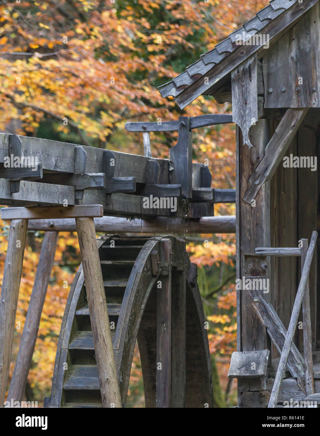 historic watermill outdoors in autumn - Stock Image