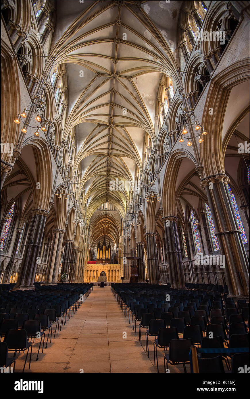 The Nave, Lincoln Cathedral - Stock Image
