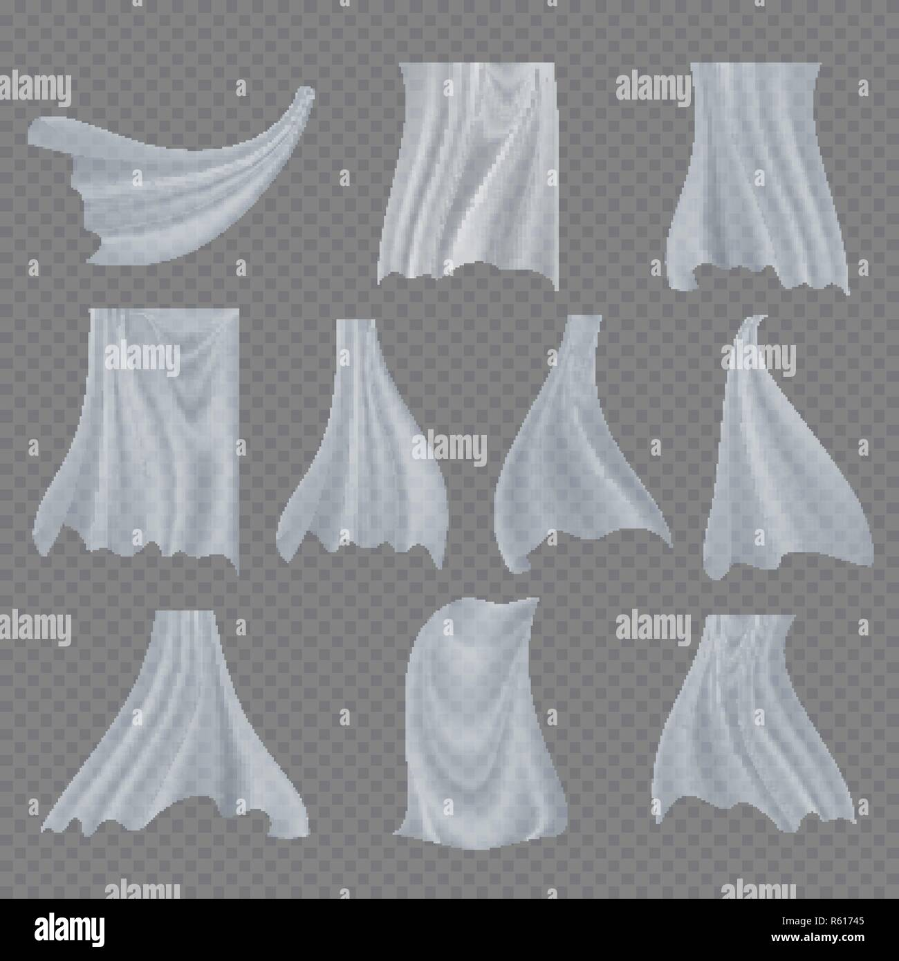 White Cloth Set Vector. Billowing Clear Curly Curtain Transparent White Cloth. Fluttering Curved Fabric Silk. Window Home Decoration. Realistic Clear Material Illustration - Stock Vector