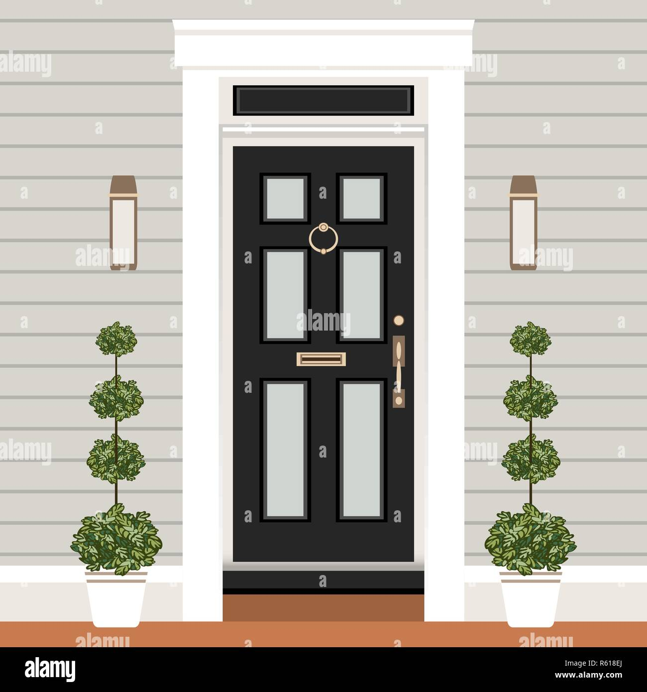 House Door Front With Doorstep And Lamps, Flowers, Entry Facade Building, Exterior  Entrance Design Illustration Vector In Flat Style