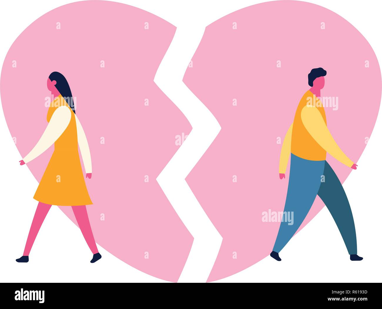 heartbroken sad young man guy and woman girl couple parting divorce. depression vector - Stock Vector