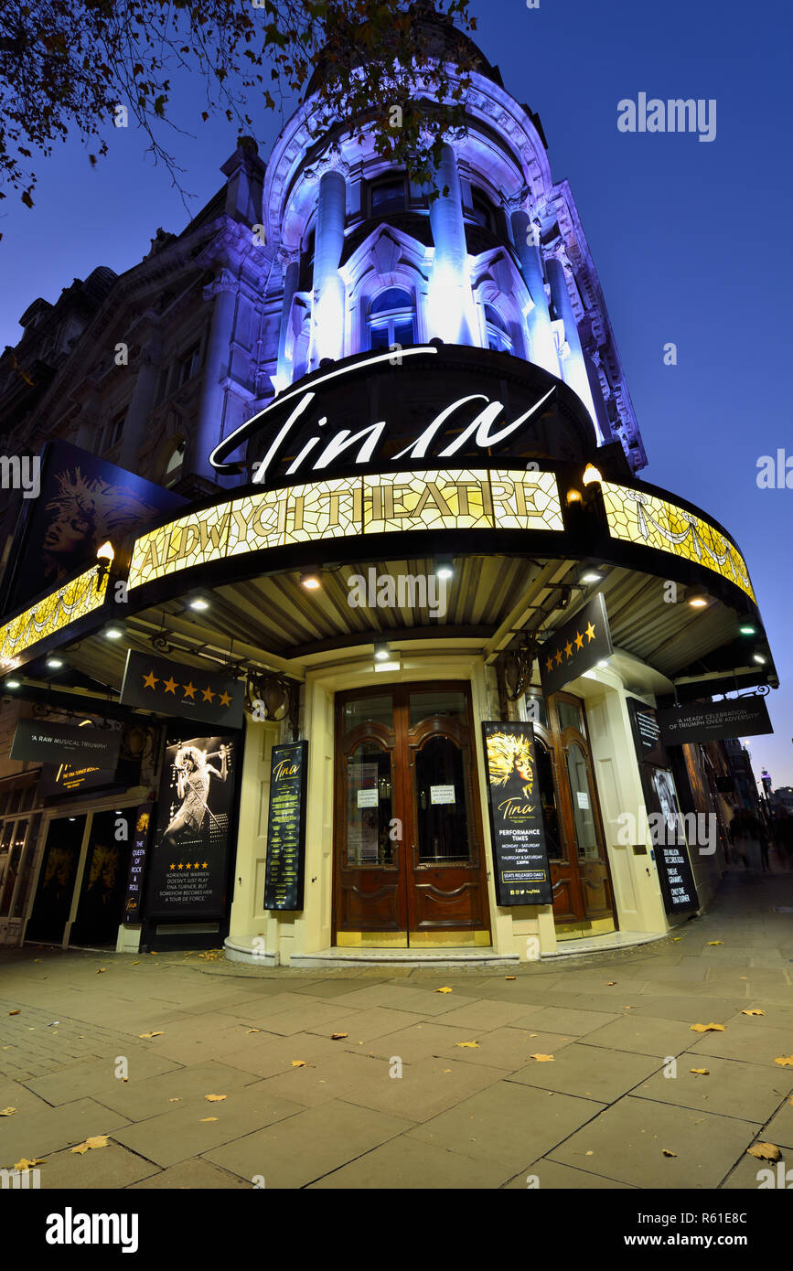 Aldwych Theatre showing Tina musical show, Aldwych, Westend,  City of Westminster, London, United Kingdom - Stock Image