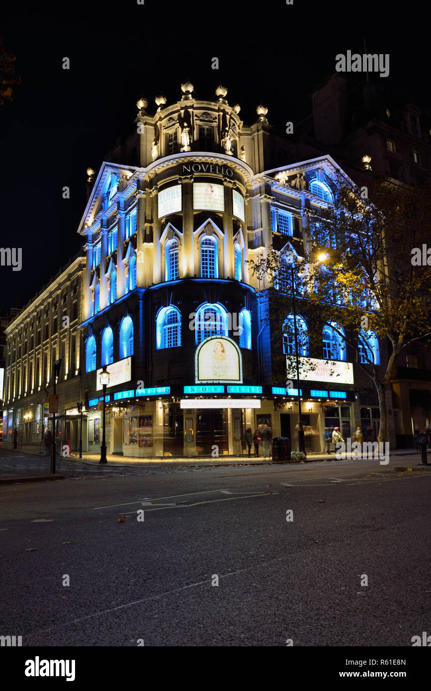 Night view of the Novello Theatre showing Mamma Mia musical show, Aldwych, City of Westminster, London WC2, United Kingdom - Stock Image