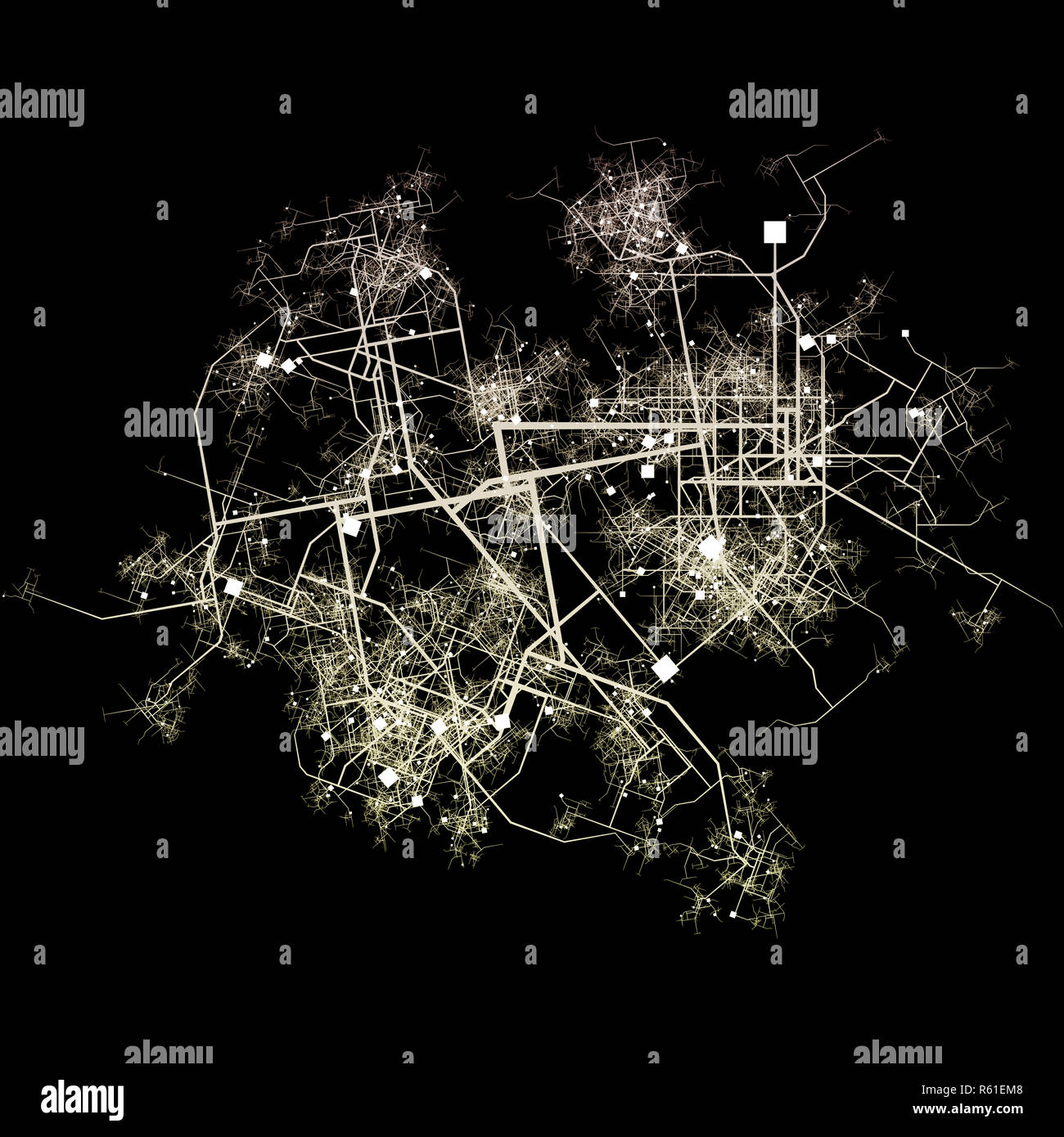 Intricate Fictional City Map - Stock Image