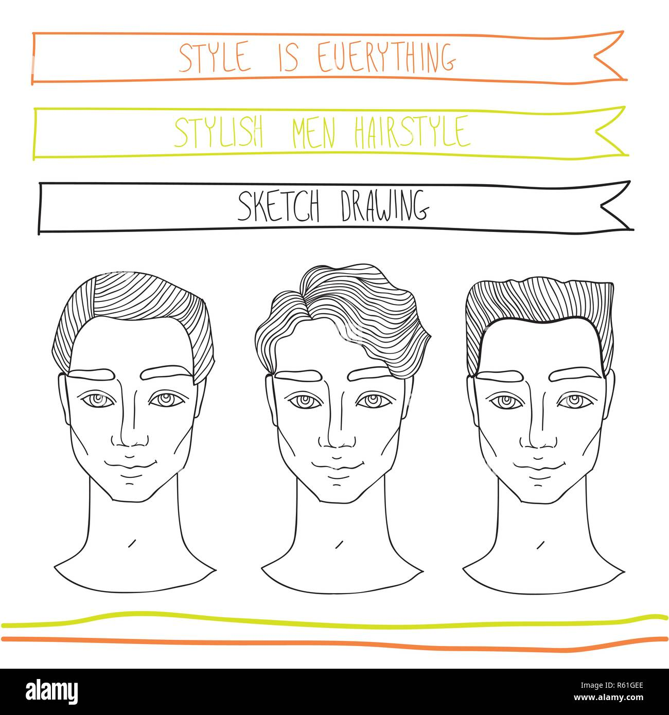 Handsome Young Man Hairstyle Fashion Beauty Theme Hand Drawn