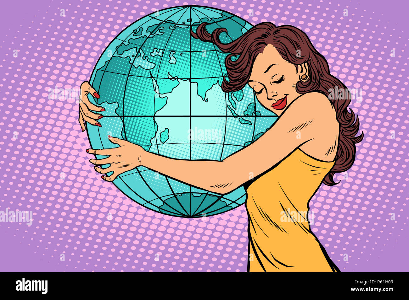 woman hugging the earth continent of Africa and Eurasia - Stock Image