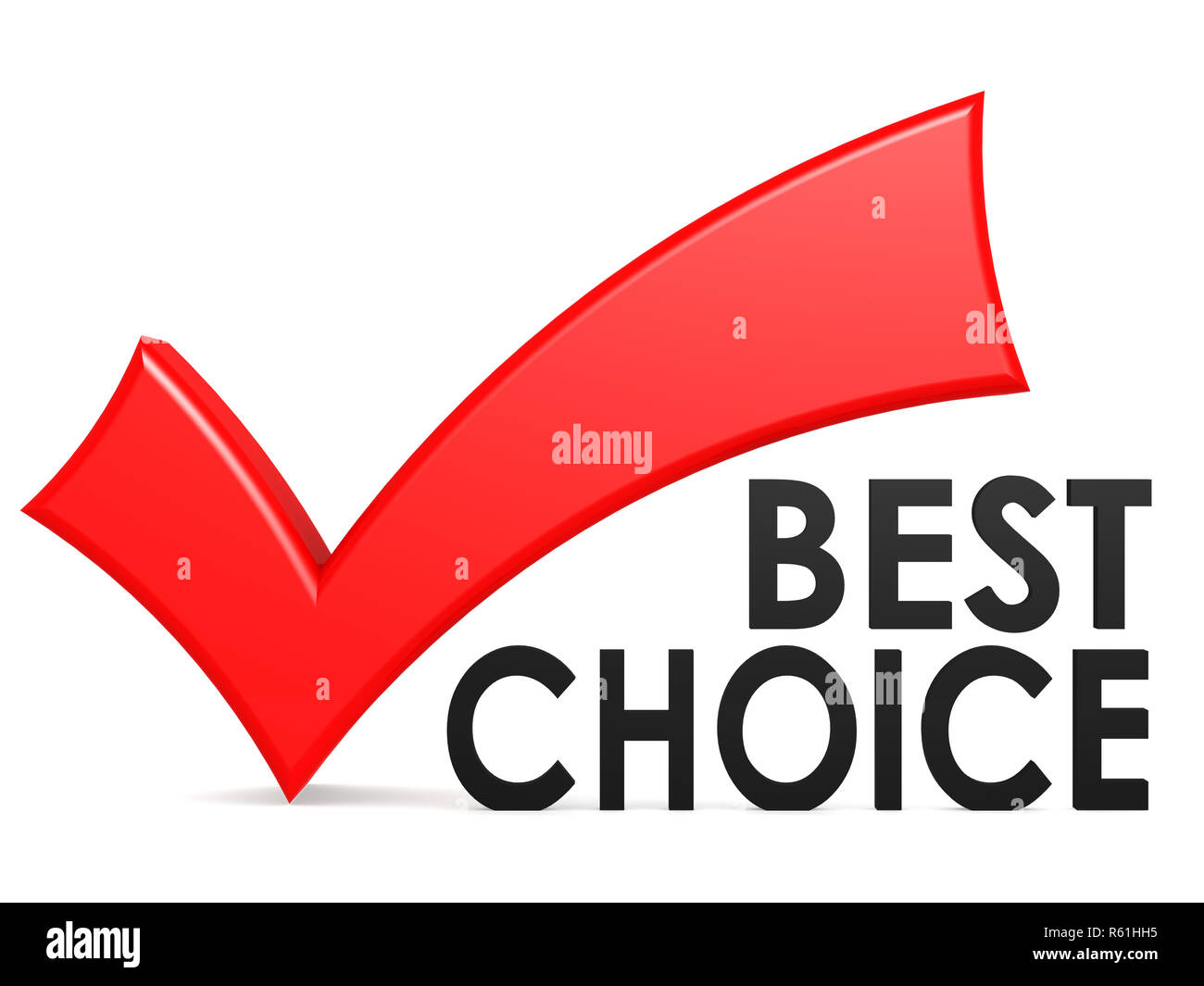 Best choice word with red check mark - Stock Image